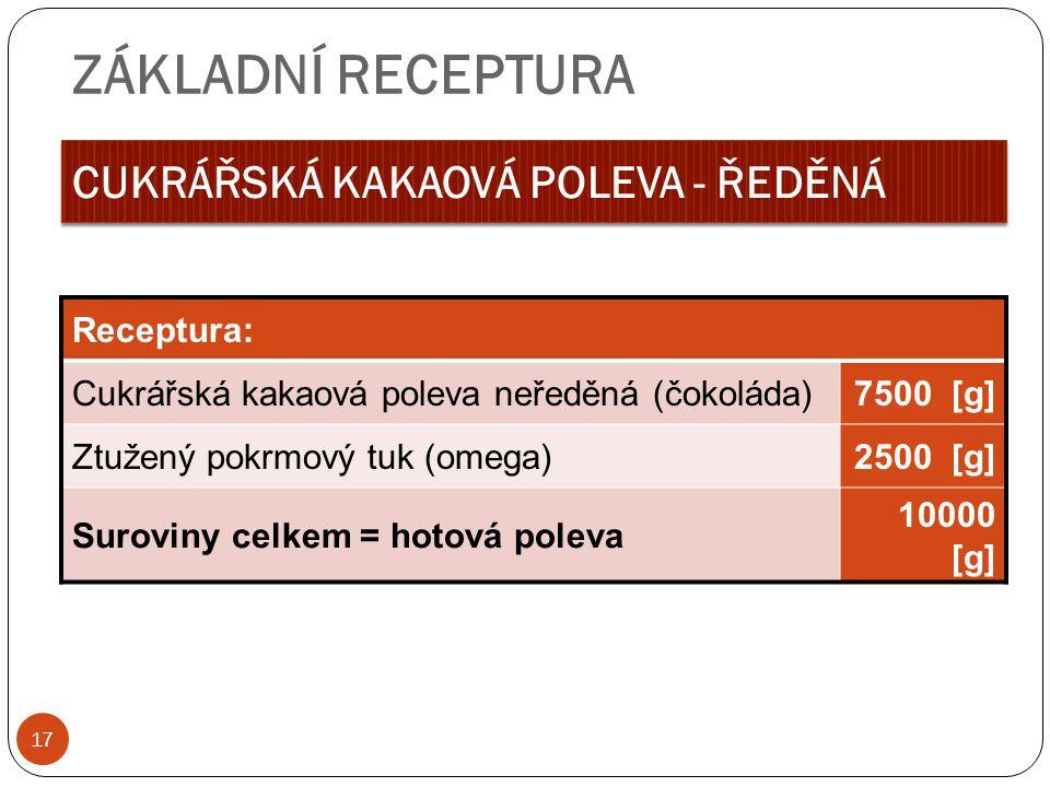 ZÁKLADNÍ RECEPTURA CUKRÁŘSKÁ KAKAOVÁ POLEVA - ŘEDĚNÁ Receptura:
