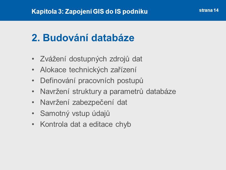 2. Budování databáze Zvážení dostupných zdrojů dat