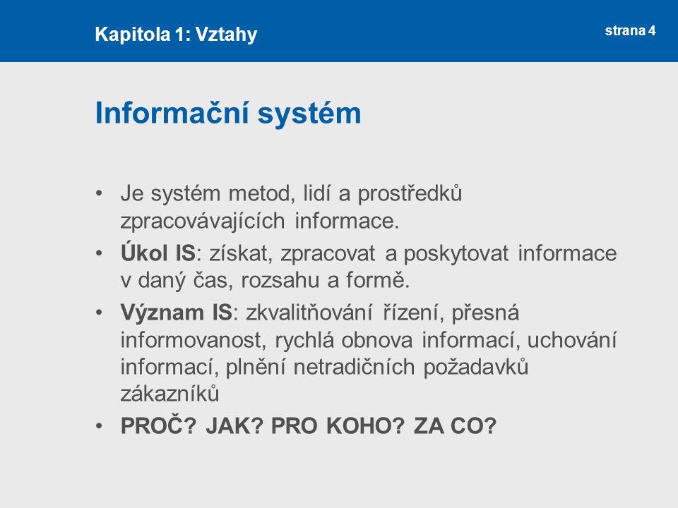 Kapitola 1: Vztahy Informační systém. Je systém metod, lidí a prostředků zpracovávajících informace.