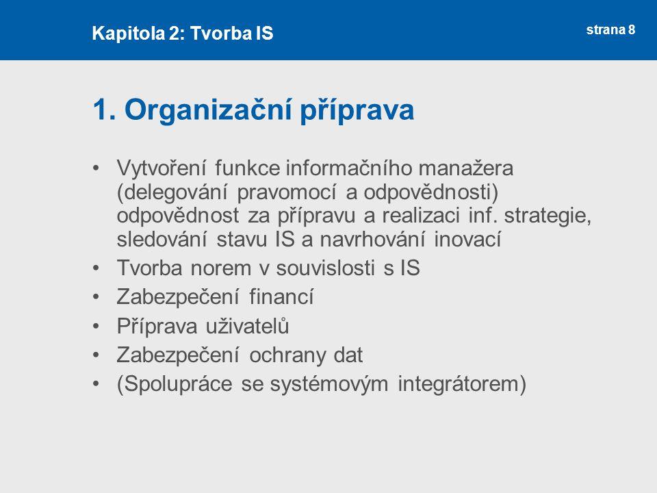 Kapitola 2: Tvorba IS 1. Organizační příprava.