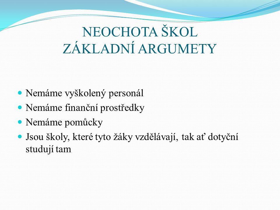 NEOCHOTA ŠKOL ZÁKLADNÍ ARGUMETY
