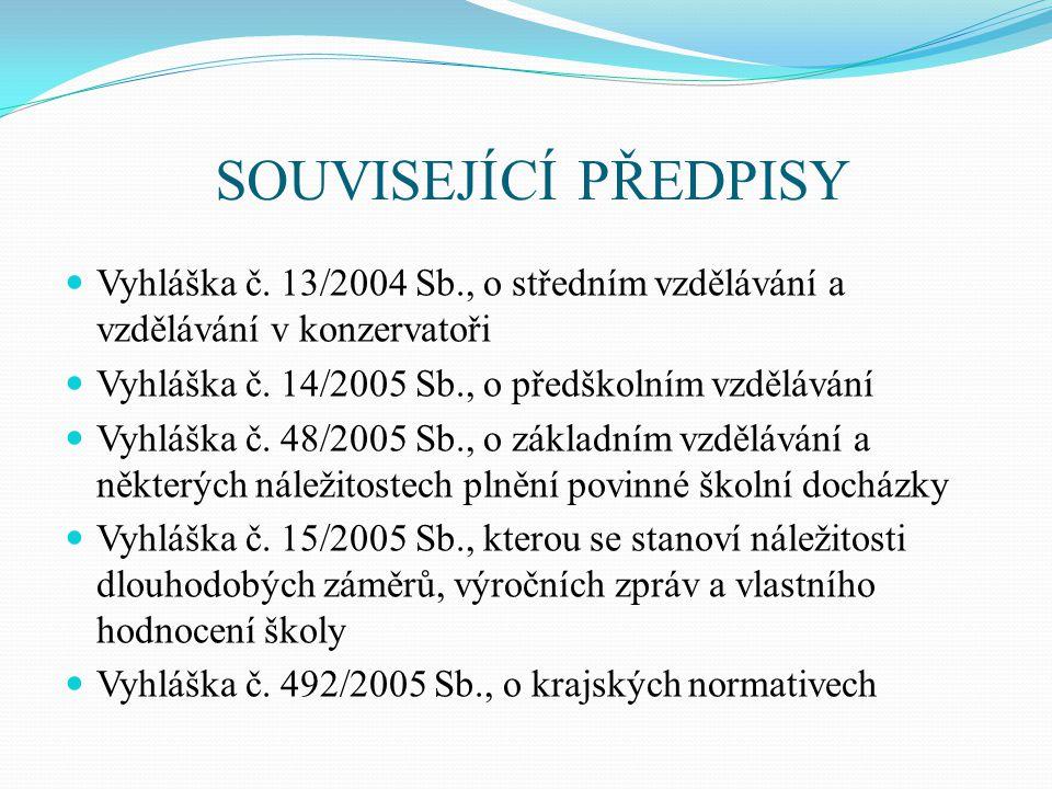 SOUVISEJÍCÍ PŘEDPISY Vyhláška č. 13/2004 Sb., o středním vzdělávání a vzdělávání v konzervatoři. Vyhláška č. 14/2005 Sb., o předškolním vzdělávání.