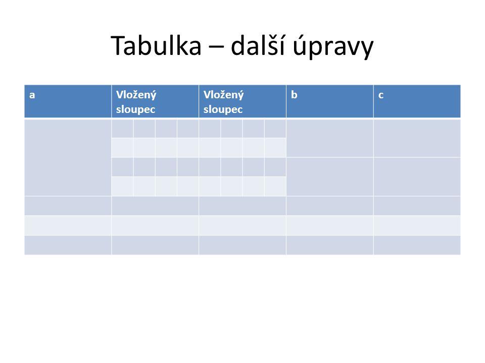Tabulka – další úpravy a Vložený sloupec Vložený sloupec b c