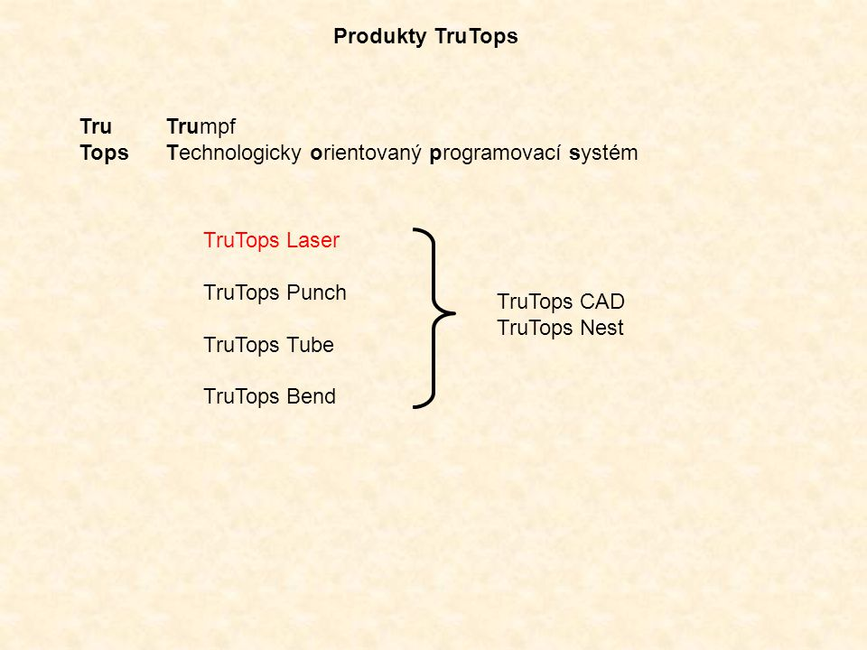 Produkty TruTops Tru Trumpf. Tops Technologicky orientovaný programovací systém. TruTops Laser.