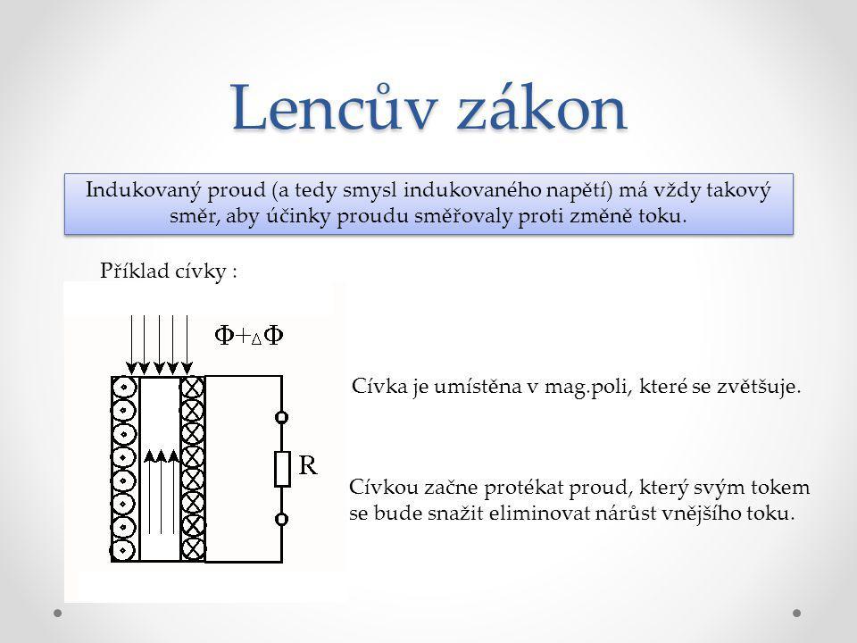 Lencův zákon Indukovaný proud (a tedy smysl indukovaného napětí) má vždy takový směr, aby účinky proudu směřovaly proti změně toku.