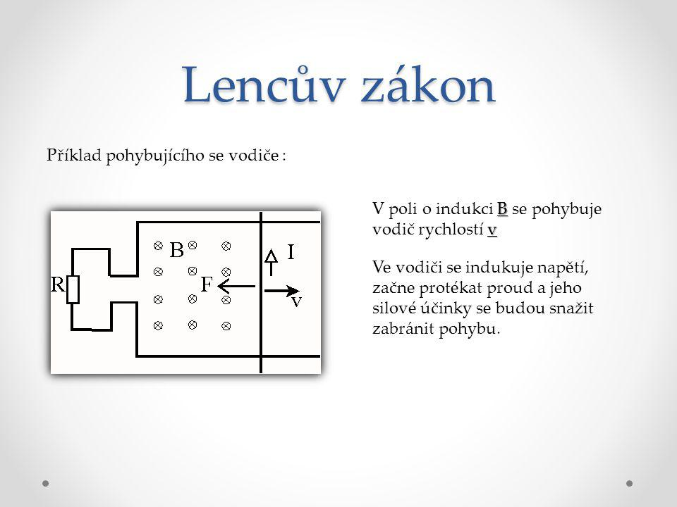 Lencův zákon Příklad pohybujícího se vodiče :