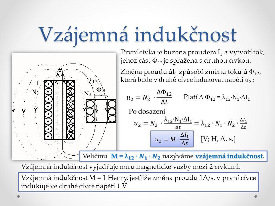 Vzájemná indukčnost První cívka je buzena proudem I1 a vytvoří tok, jehož část Φ12 je spřažena s druhou cívkou.