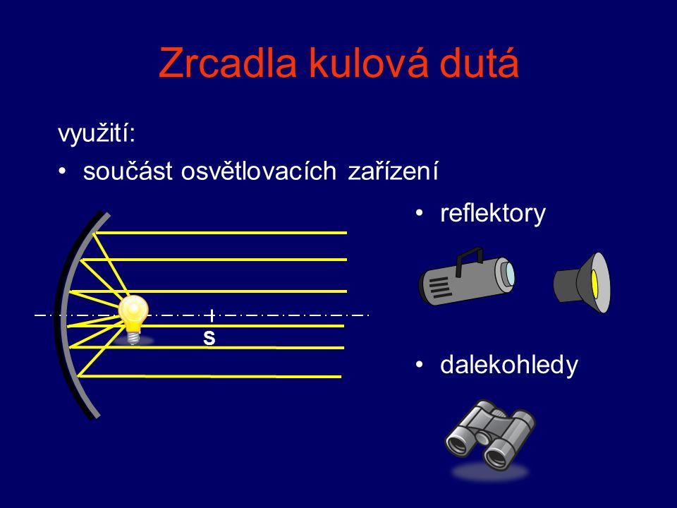 Zrcadla kulová dutá využití: součást osvětlovacích zařízení reflektory