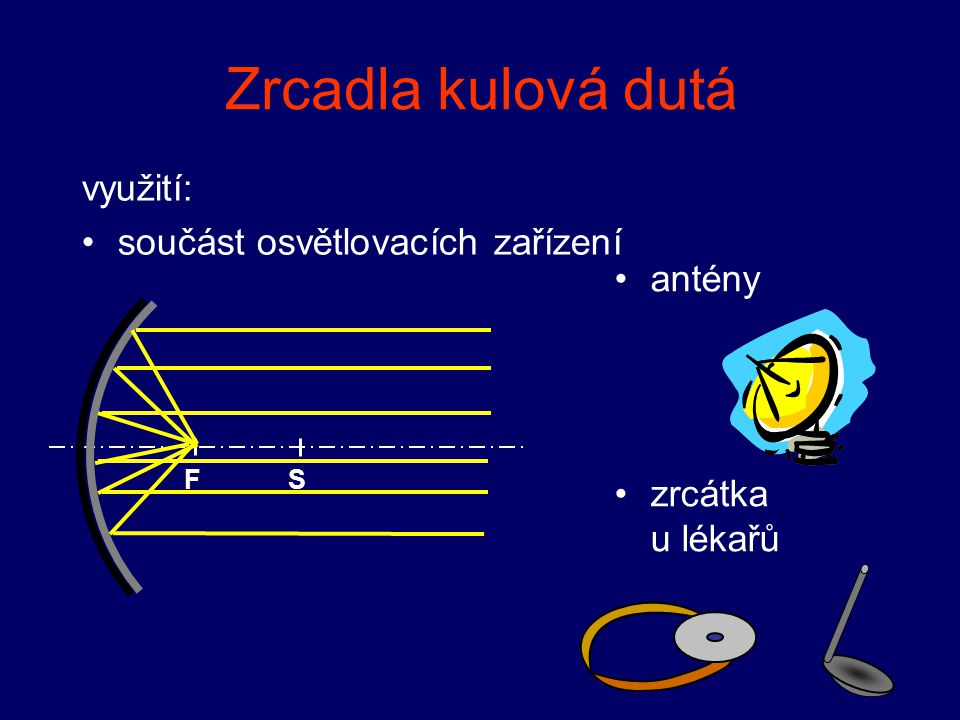 Zrcadla kulová dutá využití: součást osvětlovacích zařízení antény