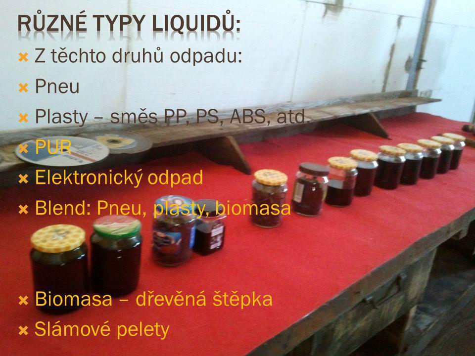 Různé typy liquidů: Z těchto druhů odpadu: Pneu