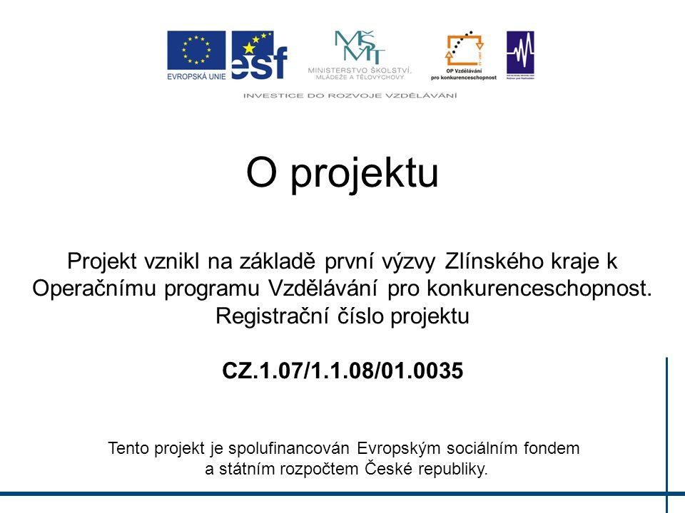 O projektu Projekt vznikl na základě první výzvy Zlínského kraje k Operačnímu programu Vzdělávání pro konkurenceschopnost. Registrační číslo projektu CZ.1.07/1.1.08/01.0035