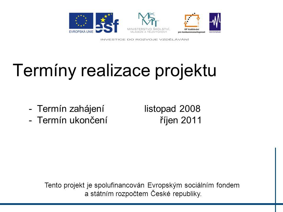 Termíny realizace projektu - Termín zahájení