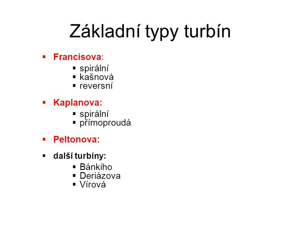 Základní typy turbín Francisova: spirální kašnová reversní Kaplanova: