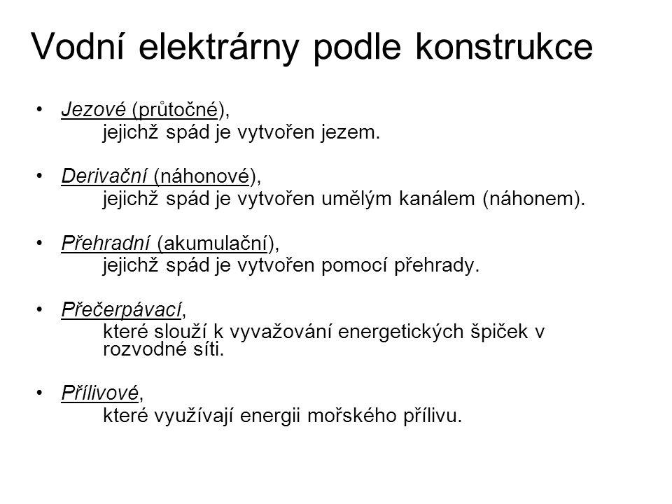 Vodní elektrárny podle konstrukce
