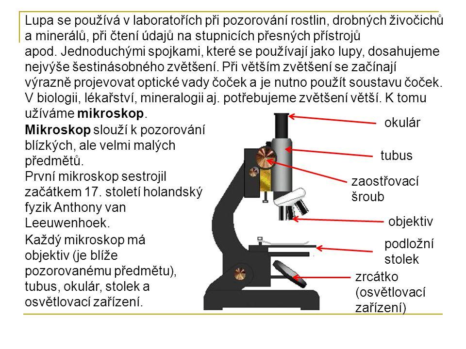 Lupa se používá v laboratořích při pozorování rostlin, drobných živočichů a minerálů, při čtení údajů na stupnicích přesných přístrojů