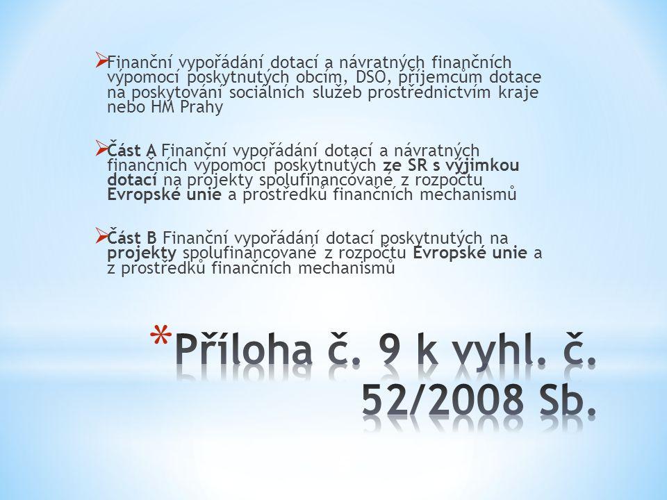 Finanční vypořádání dotací a návratných finančních výpomocí poskytnutých obcím, DSO, příjemcům dotace na poskytování sociálních služeb prostřednictvím kraje nebo HM Prahy
