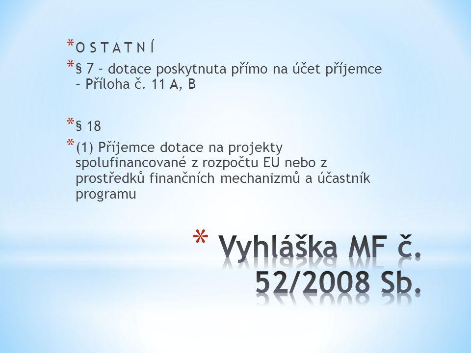 Vyhláška MF č. 52/2008 Sb. O S T A T N Í