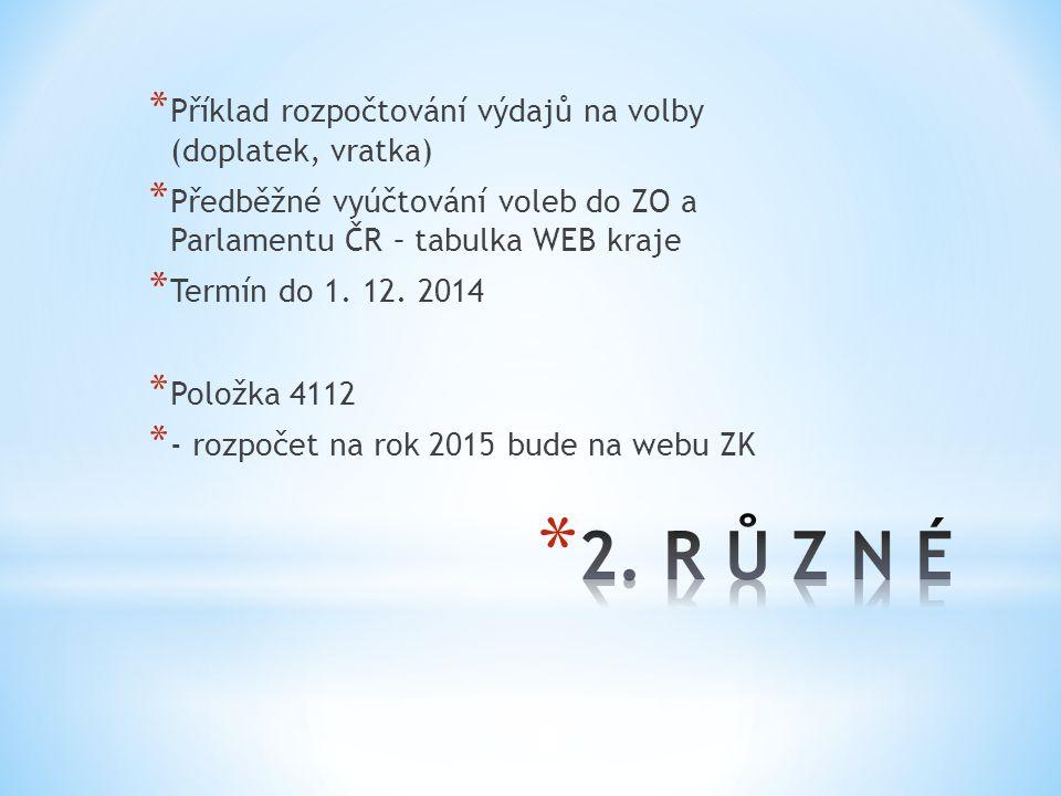 2. R Ů Z N É Příklad rozpočtování výdajů na volby (doplatek, vratka)