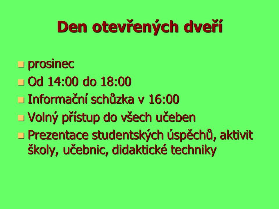 Den otevřených dveří prosinec Od 14:00 do 18:00