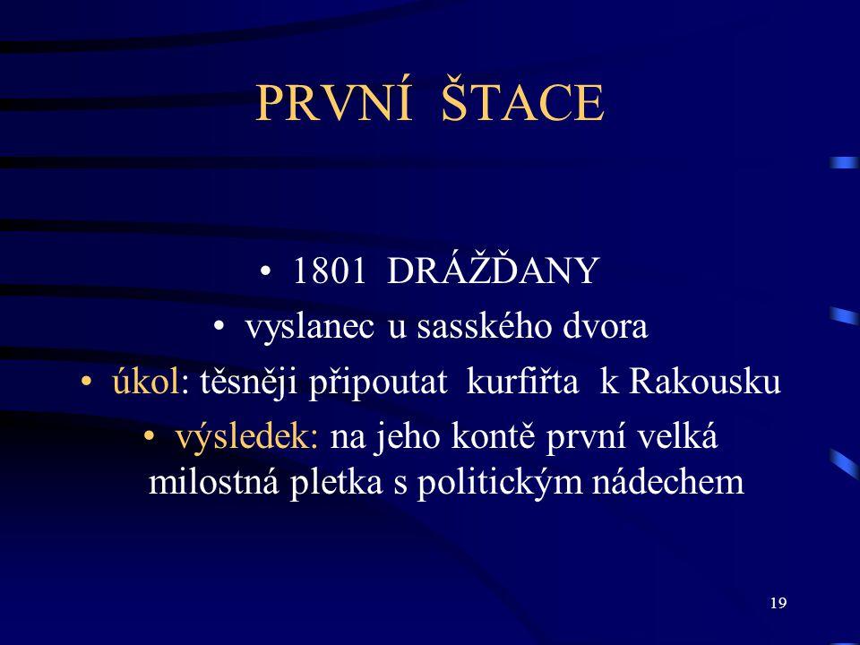 PRVNÍ ŠTACE 1801 DRÁŽĎANY vyslanec u sasského dvora