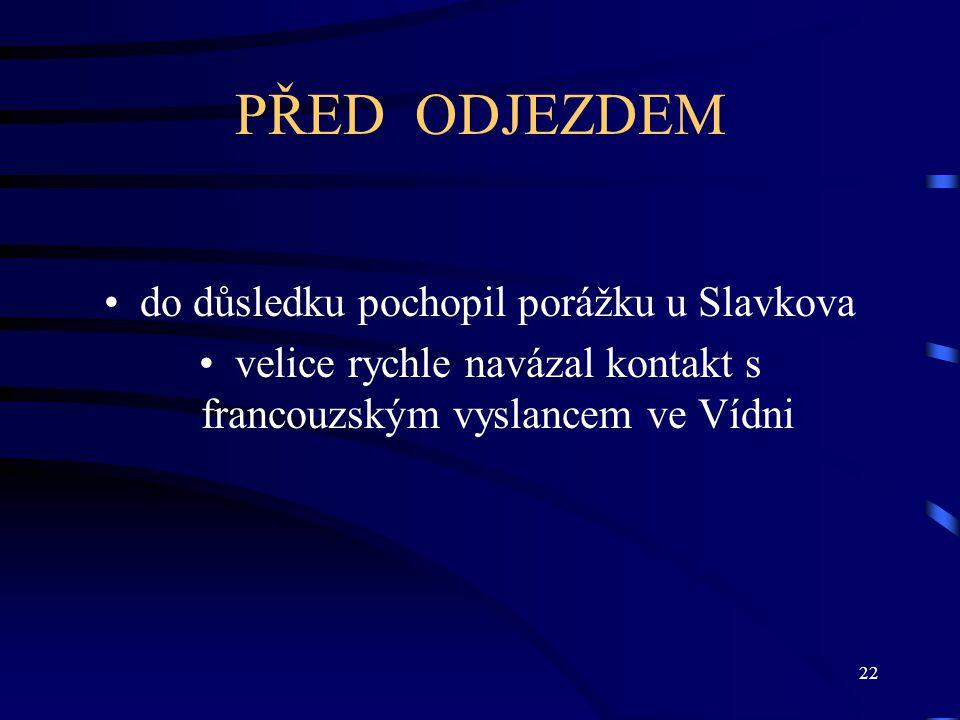 PŘED ODJEZDEM do důsledku pochopil porážku u Slavkova