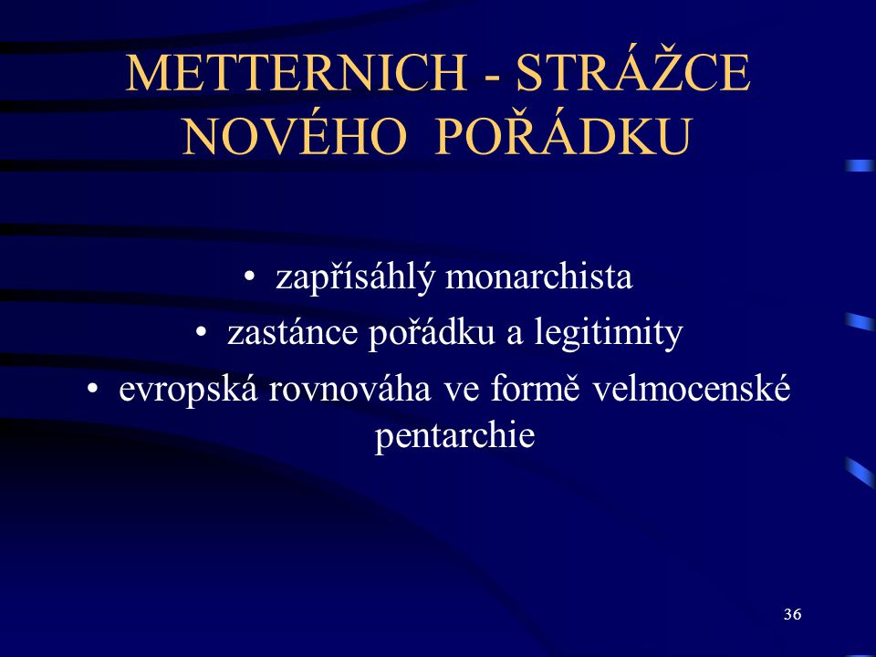 METTERNICH - STRÁŽCE NOVÉHO POŘÁDKU