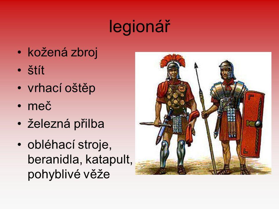 legionář kožená zbroj štít vrhací oštěp meč železná přilba