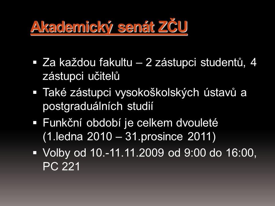 Akademický senát ZČU Za každou fakultu – 2 zástupci studentů, 4 zástupci učitelů. Také zástupci vysokoškolských ústavů a postgraduálních studií.