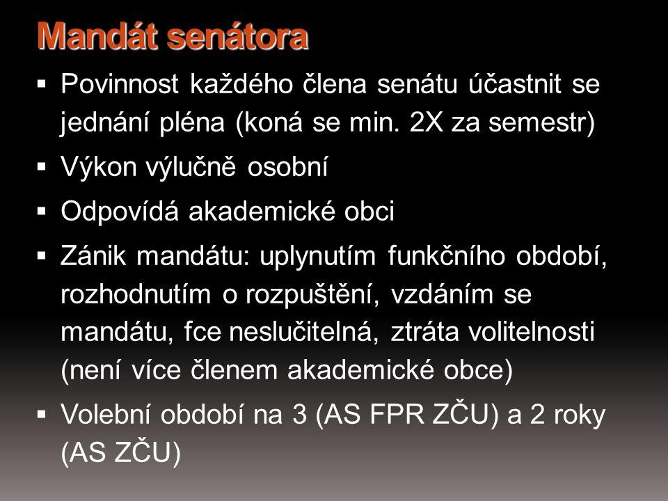 Mandát senátora Povinnost každého člena senátu účastnit se jednání pléna (koná se min. 2X za semestr)