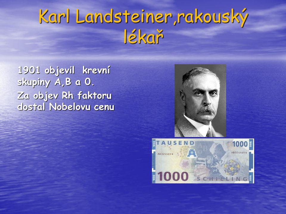 Karl Landsteiner,rakouský lékař