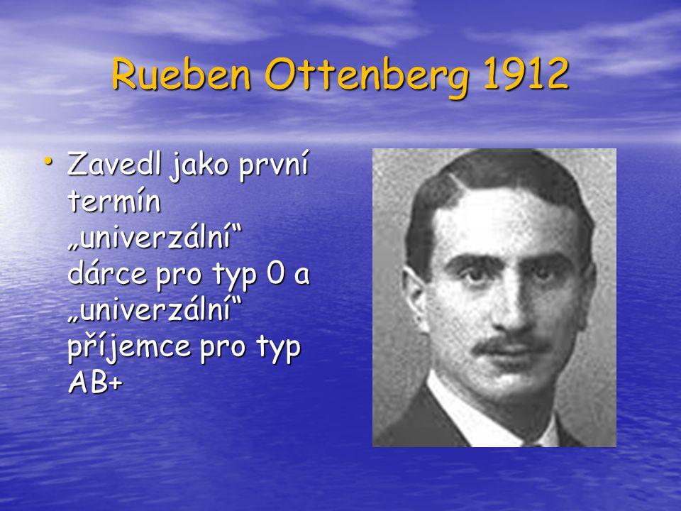 """Rueben Ottenberg 1912 Zavedl jako první termín """"univerzální dárce pro typ 0 a """"univerzální příjemce pro typ AB+"""