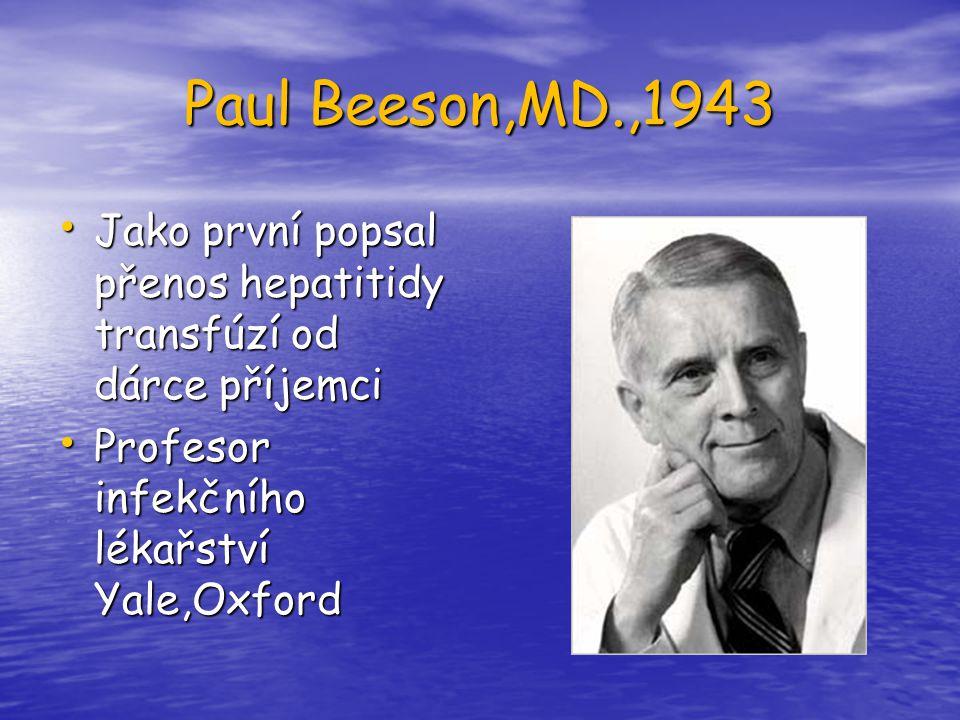 Paul Beeson,MD.,1943 Jako první popsal přenos hepatitidy transfúzí od dárce příjemci.
