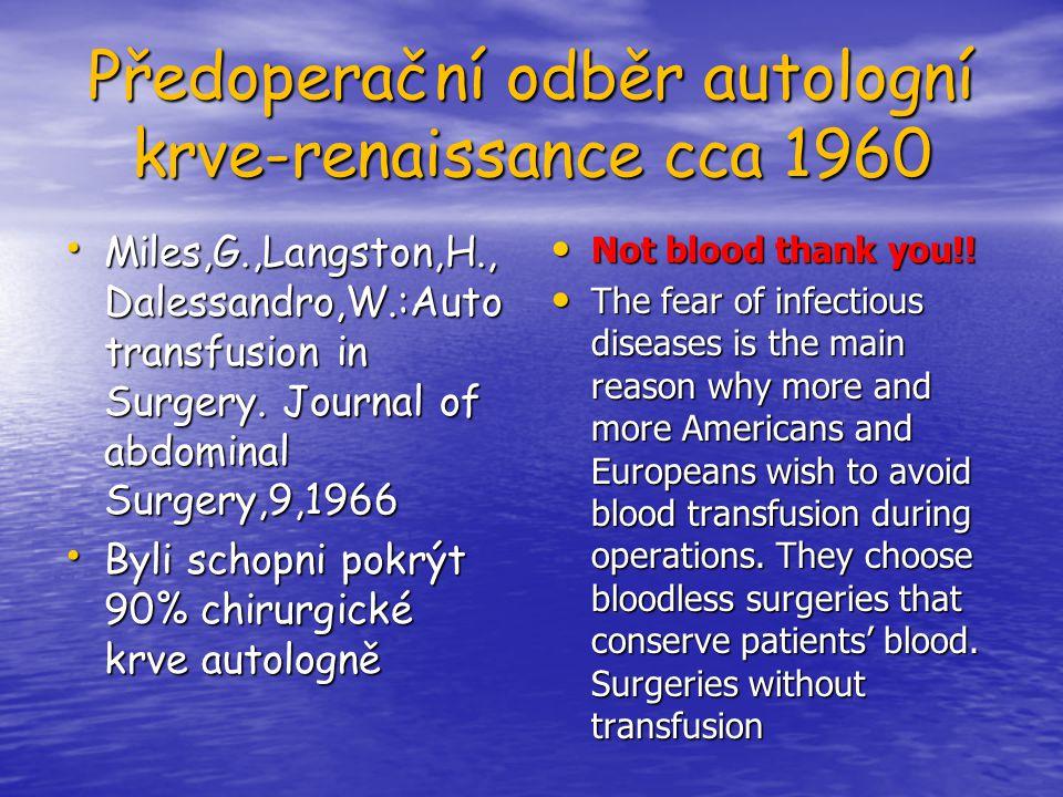 Předoperační odběr autologní krve-renaissance cca 1960