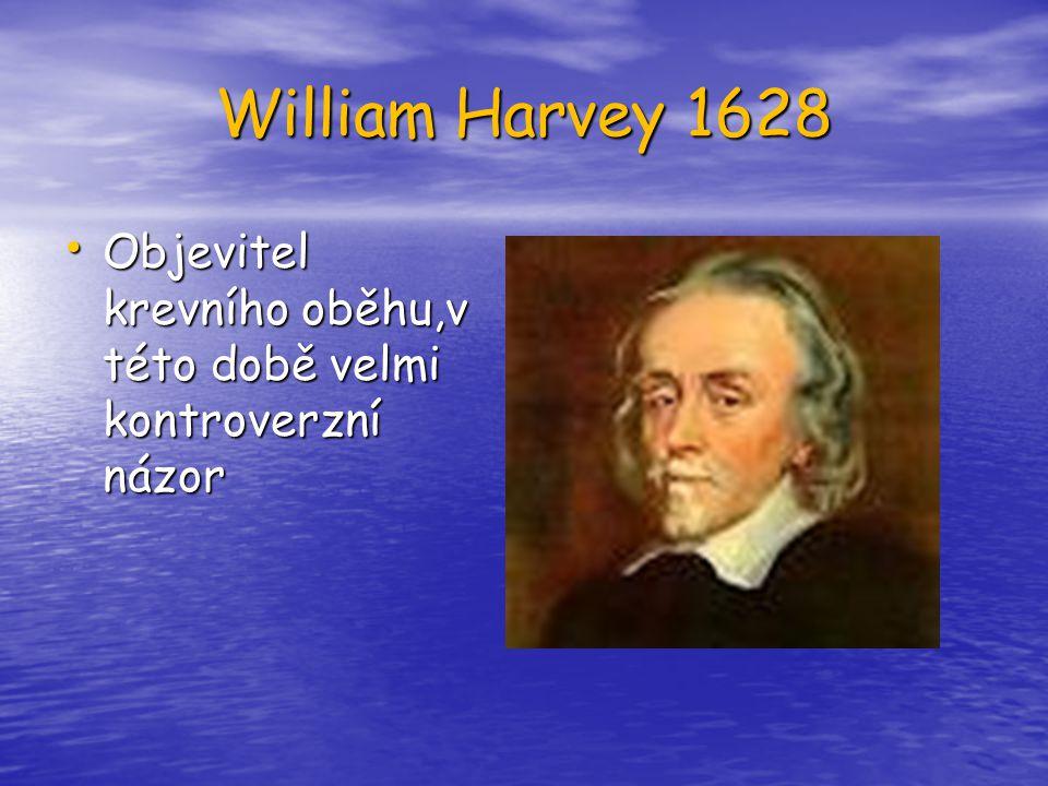 William Harvey 1628 Objevitel krevního oběhu,v této době velmi kontroverzní názor