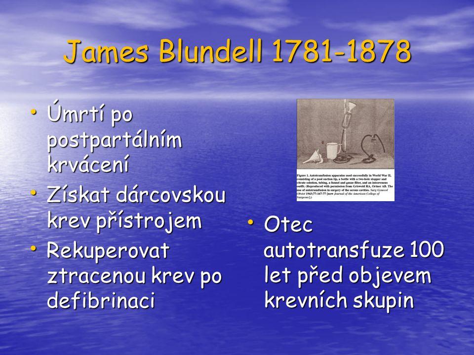 James Blundell 1781-1878 Úmrtí po postpartálním krvácení