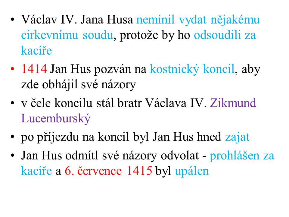 1414 Jan Hus pozván na kostnický koncil, aby zde obhájil své názory