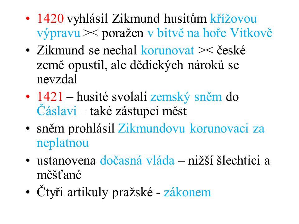 1421 – husité svolali zemský sněm do Čáslavi – také zástupci měst