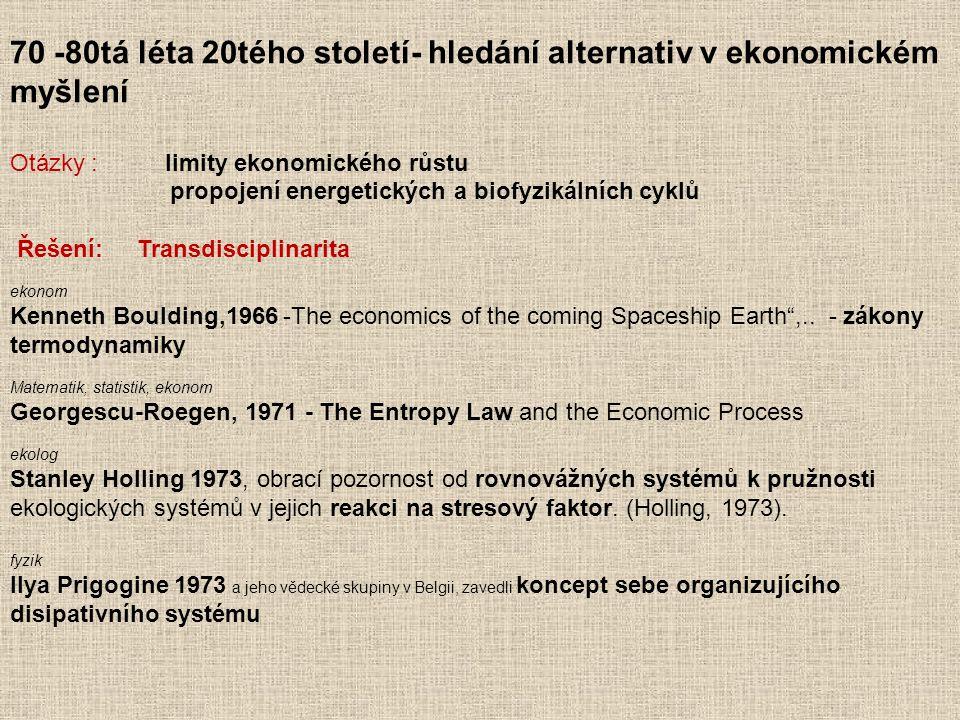 70 -80tá léta 20tého století- hledání alternativ v ekonomickém myšlení