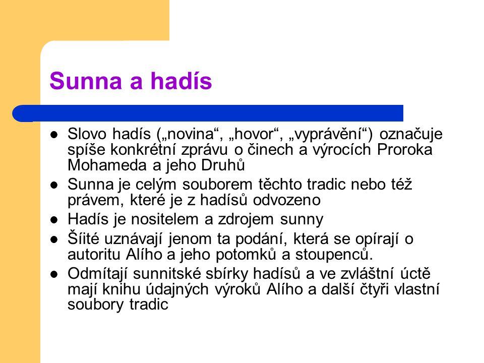 """Sunna a hadís Slovo hadís (""""novina , """"hovor , """"vyprávění ) označuje spíše konkrétní zprávu o činech a výrocích Proroka Mohameda a jeho Druhů."""