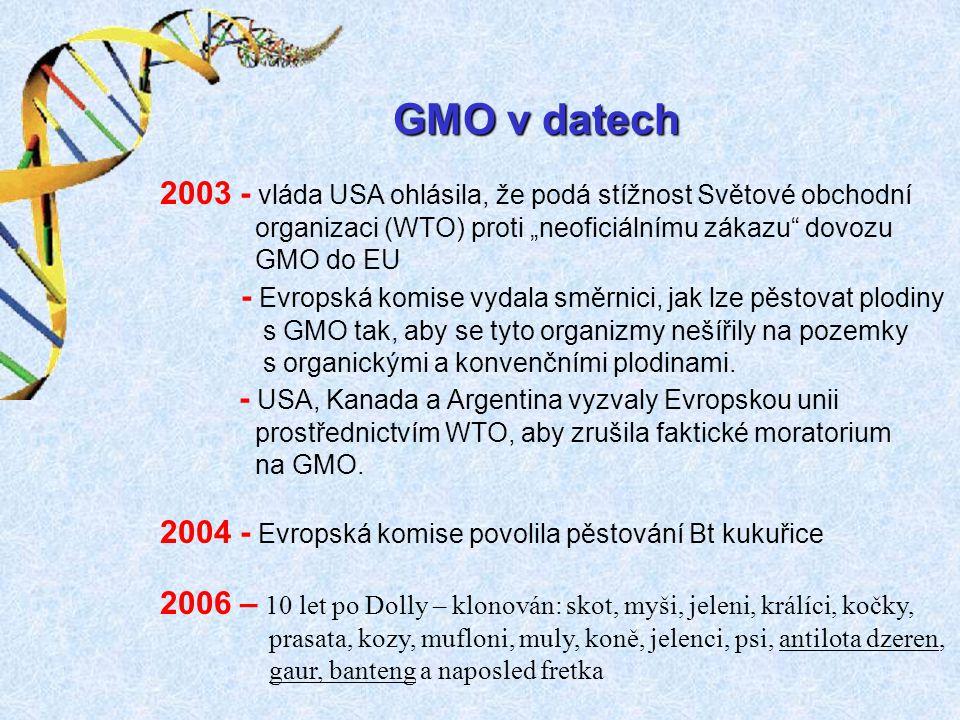"""GMO v datech 2003 - vláda USA ohlásila, že podá stížnost Světové obchodní. organizaci (WTO) proti """"neoficiálnímu zákazu dovozu."""
