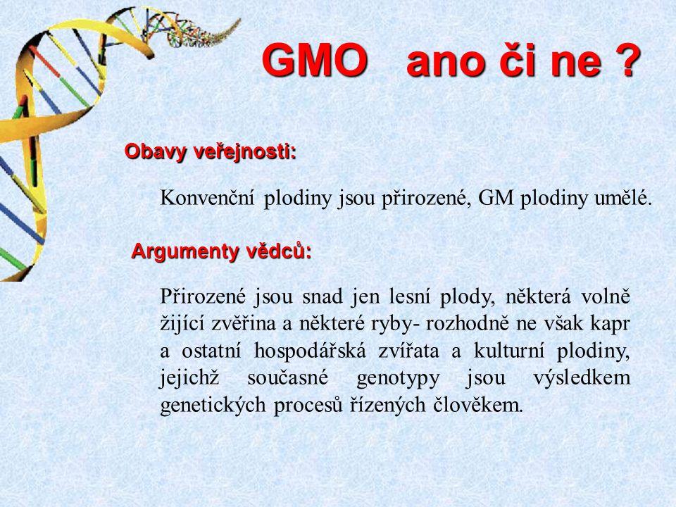 GMO ano či ne Konvenční plodiny jsou přirozené, GM plodiny umělé.