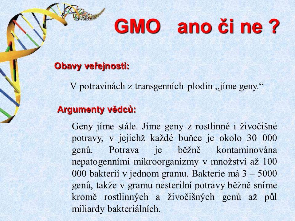 """GMO ano či ne V potravinách z transgenních plodin """"jíme geny."""