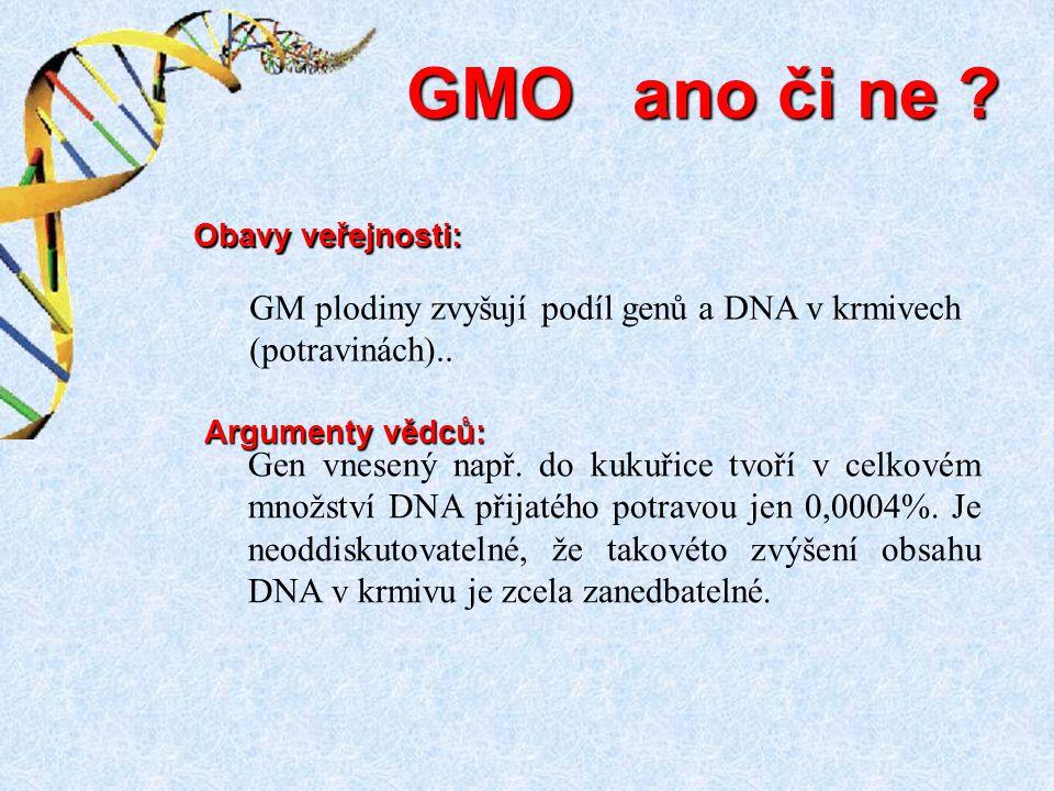 GMO ano či ne GM plodiny zvyšují podíl genů a DNA v krmivech