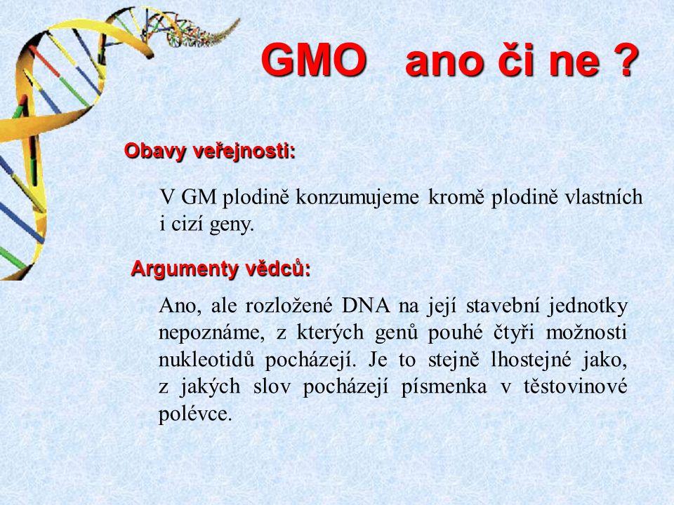 GMO ano či ne Obavy veřejnosti: V GM plodině konzumujeme kromě plodině vlastních i cizí geny. Argumenty vědců: