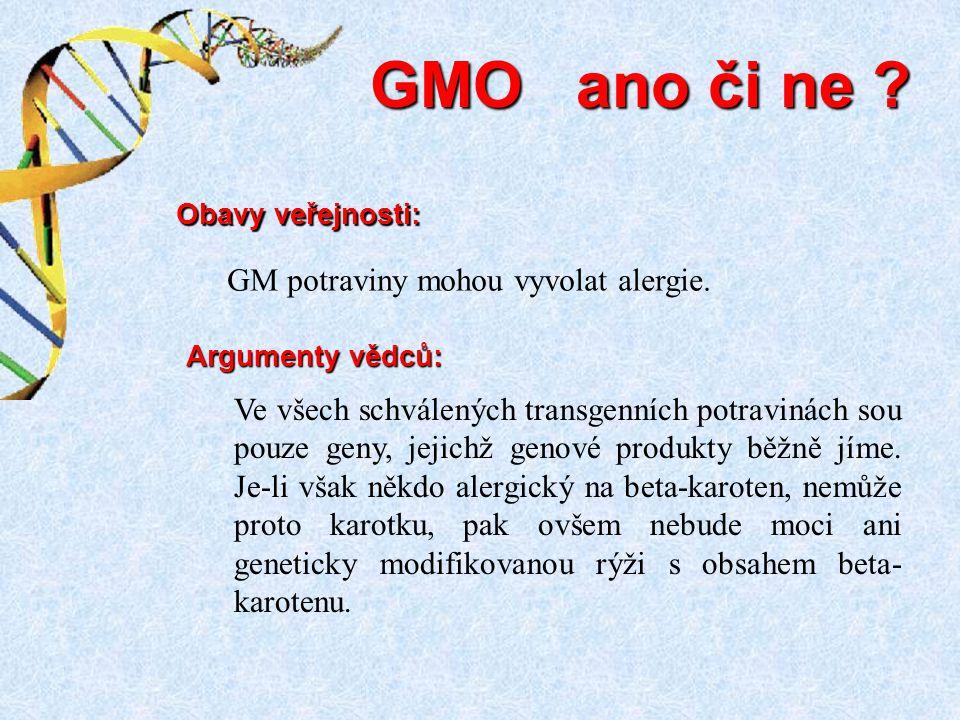 GMO ano či ne GM potraviny mohou vyvolat alergie.