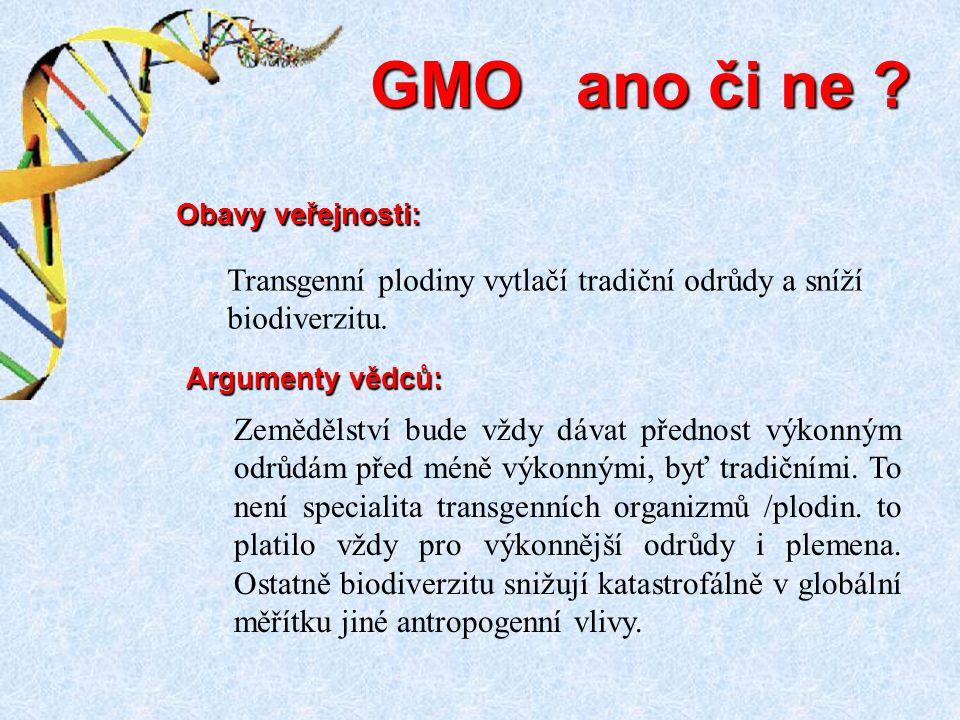 GMO ano či ne Transgenní plodiny vytlačí tradiční odrůdy a sníží