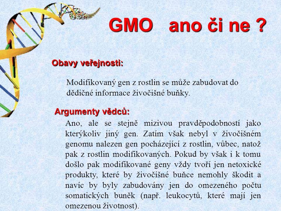 GMO ano či ne Obavy veřejnosti: