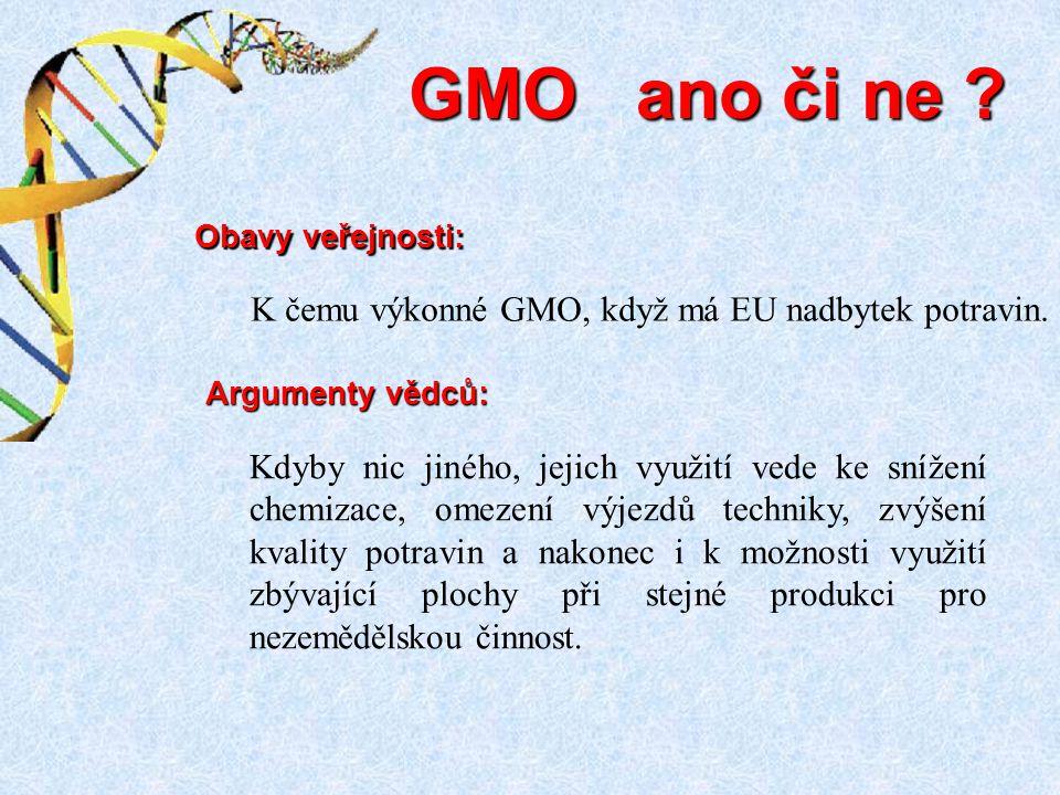 GMO ano či ne K čemu výkonné GMO, když má EU nadbytek potravin.