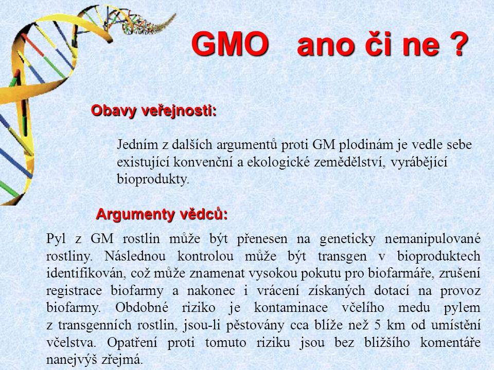GMO ano či ne Obavy veřejnosti: Argumenty vědců: