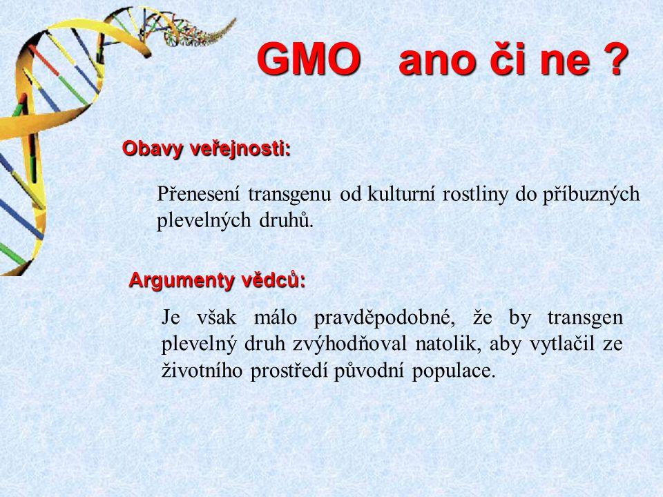 GMO ano či ne Obavy veřejnosti: Přenesení transgenu od kulturní rostliny do příbuzných plevelných druhů.